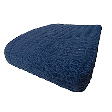 Cozy Bed - Santa Barbara Waffle Weave Blanket, Full/Queen, Blue