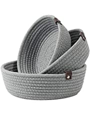 Goodpick 3pack Small Basket - Cotton Rope Basket Woven Storage Basket for Living Room Bathroom Storage Basket for Towels Cute Round Basket for Baby Toy Storage for Shelves Gift Baskets, Gray