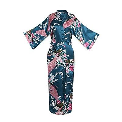 Women's Kimono Long Robe - Peacock & Blossoms Long Kimono Robe