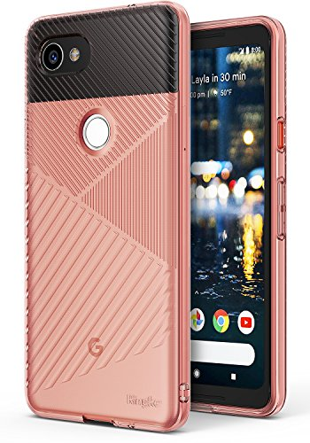 (Ringke [Bevel] Compatible with Google Pixel 2 XL Grip Enhanced Diagonal Line Pattern TPU Form Fitting Drop Resistant Defense Minimalism Design Cover Google Pixel 2 XL Case – Rose Gold)