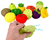 soft fruit toys - [11 Piece] Squeaky Soft Vinyl Rubber Fake Fruits & Vegetables Water Bath Toys