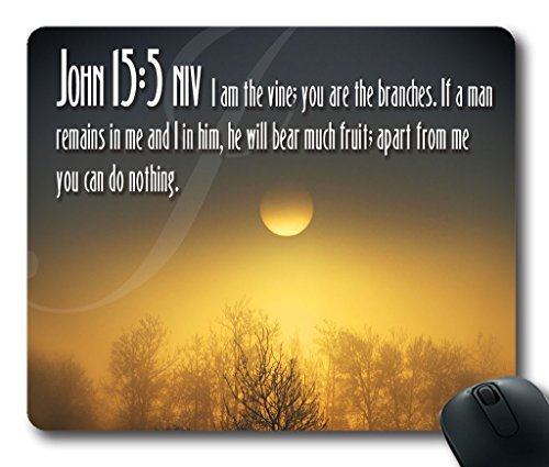 Inspirational Bible Verse Quotes John 15:5 Oblong Mouse Pad in 240mm*200mm*3mm VQ0711011