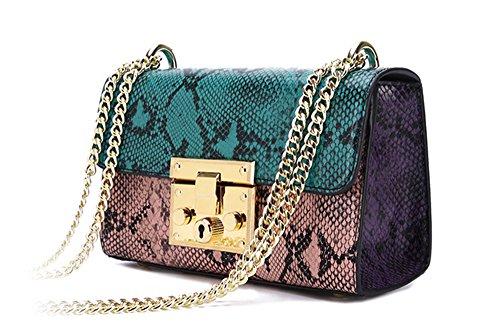 Bolsos de señora Xinmaoyuan hembra serpentina cadena silvestre Bolsa Bolso Bolso Bolso femenino moda bolso cuadrado pequeño,verde Green