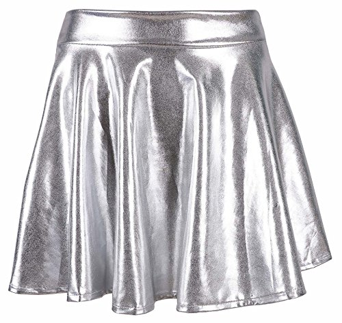 simplicity-womens-metallic-ballet-dance-flared-skater-skirt-fancy-dress-silver