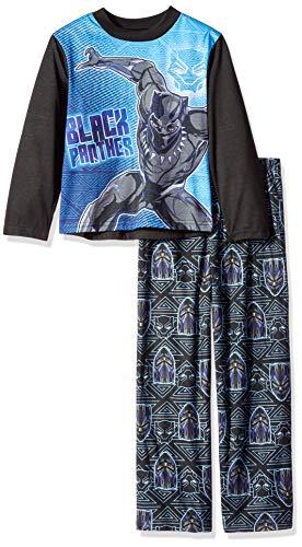 Marvel Boys' Little Black Panther 2-Piece Pajama Set, Vibranium, 8]()
