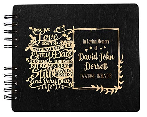 Guest Book Engraved (Funeral Guest Book Personalized Wooden Memorial Guestbook 8.5x7