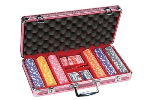(300 Piece Dice Design Poker Chips in Aluminum Case, Pink Color)
