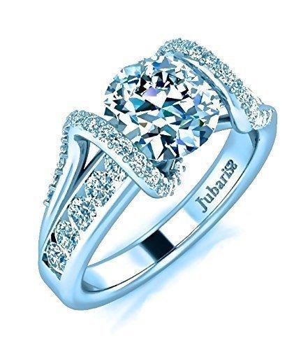 1.38 Tcw Contemporary Diamond Engagement Ring Custom Tension Set Channel Band Designer Round Brilliant Cut Jubariss 14K White - Brilliant Ring Diamond Round Tension