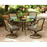 Outdoor Dinning Five Piece Steel Set with Scratch Resistant Glass Table and Four Chairs and Cushion Perfect for Your Garden, Backyard and Living Room, Patio Furniture, BONUS E-book