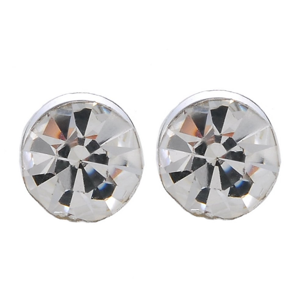 Green Crystal Magnet Round Earrings Pierced Earrings Suction Magnetic Stud Clip-on Rhinestones for Women kuoyue KYV000AK6Y0S