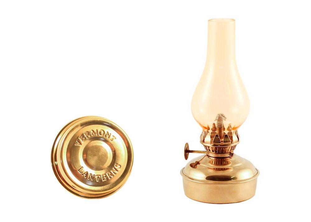 Vermont Lanterns Brass Mini Oil Lamp 6.5'' (Brass with Amber Glass)