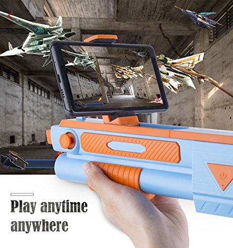 """Teletrogy AR Gun Game, 360° VR Mobile Long-Barrelled 15.7"""" Game Guns Wireless Bluetooth Controller Toy Pistol for 3.5- 6.0 inches iOS Phone and Android Phone, Continuously Updated VR Game"""