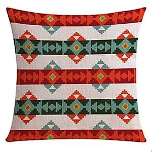 L & h-home País textil color patrón de algodón/lino decorativo almohada cubierta