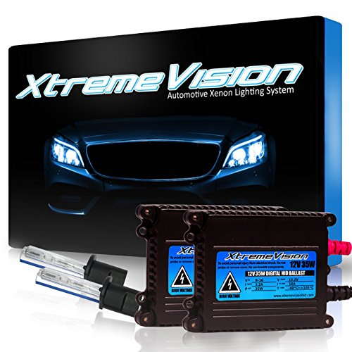 XtremeVision 35W Xenon HID Lights with Premium Slim Ballast - H1 6000K - 6K Light Blue - 2 Year - Replacment Ballast
