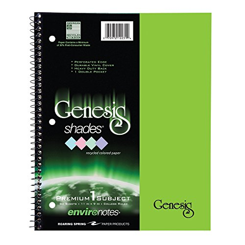 Paper Wirebound Notebook (Roaring Spring Paper Products Genesis Green Shades Wirebound Notebook, One Subject, 11 x 9 Inches, 80 Sheets, College Ruled, Green Poly Covers (12242))