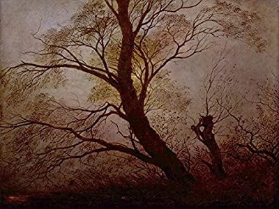 Trees in the moonlight by Caspar David Friedrich. 100% Hand Painted. Oil On Canvas. Reproduction. (Unframed and Unstretched).