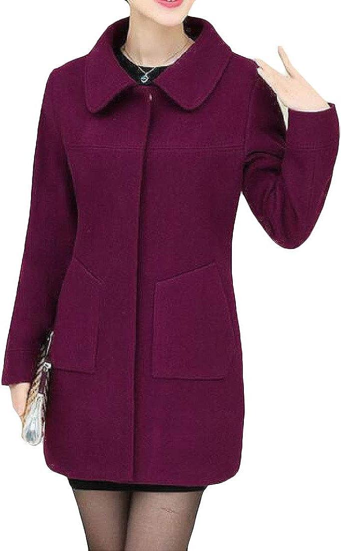 XXBlosom Womens Outwear Casual Jacket Wool-Blended Overcoat Lapel Pea Coat