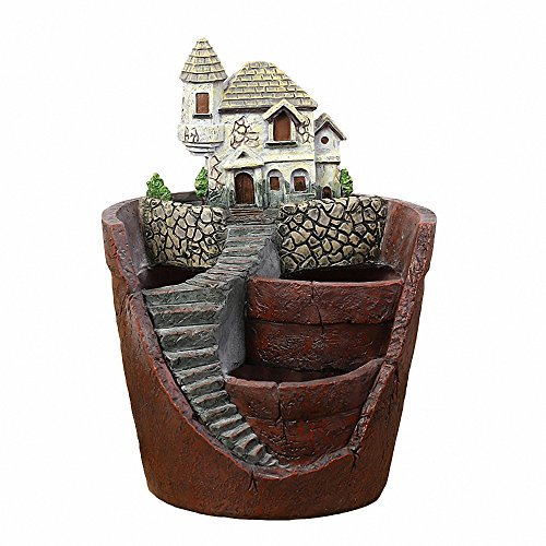 Ruijon Creative Resin Garden Potted Plants Decorate,Diy Aerial Secret Garden Sweet Villa Mini Landscape Fleshy Flower Pot For Holiday Decoration And Gift