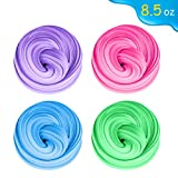 iBaseToy Fluffy Slime, 8.5 0Z Jumbo Foam Slime Soft Non Sticky Stretchy Toys with Non-Toxic Material Fluffy Texture Toys for Kids and Adults - 4 PACK