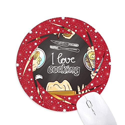 I Love Cooking Dumplings Potato Wheel Mouse Pad Round Red Rubber