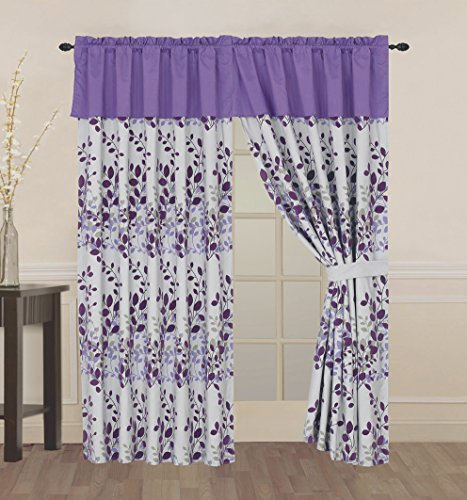 4 Piece Purple / Grey / Lavender Fresca Vine Flocking Curtain set with attached Valance and Sheers