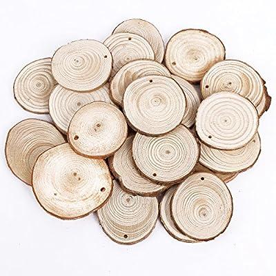 25pcs 5cm Wooden Wood Log Slices Discs Natural Tree Bark Table Decorative Wedding Centerpieces - Roudn Shape