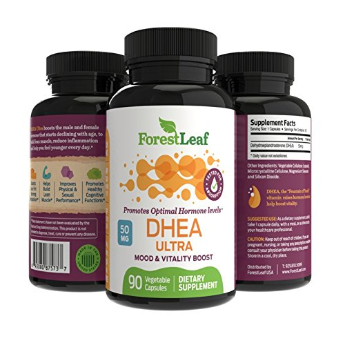 Dhea 50 Mg 90 Capsule - DHEA 50mg Daily Supplement for Men and Women - Promotes Optimal Hormone Level - Mood, Vitality and Physical Performance Boost - 90 Vegetable Capsules - by ForestLeaf