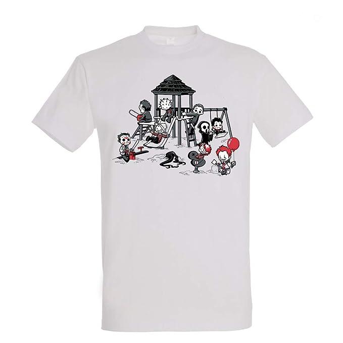 2c5fbafd6 Pampling Camiseta Horror Park - Terror - Cine - Color Gris - 100% Algodón -  Serigrafía  Amazon.es  Ropa y accesorios