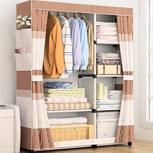 533 Steel Pipe economical Fabric Assembly Simple Reinforcement Simple Modern Closet Wardrobe Cloth Wardrobe (Color : C) by 533