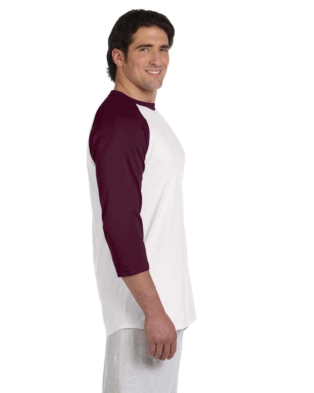 Champion Adult Raglan Baseball T-Shirt, Wht/Maroon, XXX-Large