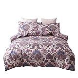 Weiliru Bedding Duvet Cover Full, Cotton Pintuck Duvet Cover and Shams 3pcs Bedding Set Double Side Printed Floral Reversible Comforter