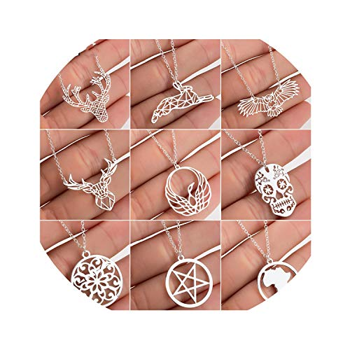 Stainless Steel Deer Rabbit Pendant Necklace Women Boho Jewelry Cute Star Moon Chain Necklaces Wholesale
