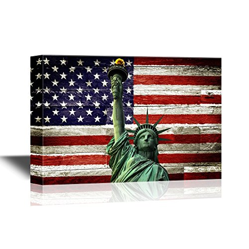 Statue of Liberty with Ameria Flag Backgroud