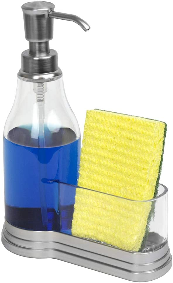Home Basics Plastic Soap Dispenser with Brushed Steel Top and Fixed Sponge Holder, Chrome