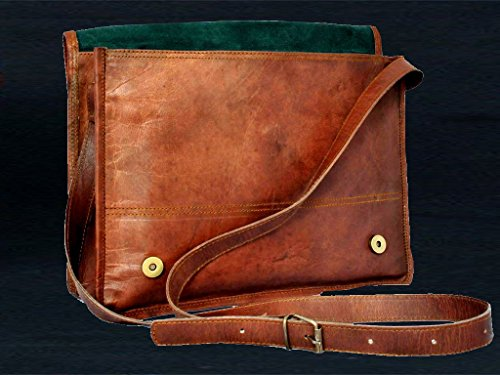 "15"" Inch Men's Genuine Leather Messenger Flap Strap College Macbook Air Pro L..."