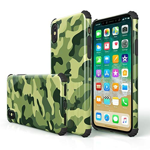 - KITATA iPhone Xs Case iPhone X Case for Men Shockproof [Bumper Corner], Camo Camouflage Green Olive Patriotic Military Print Design for Boys, [Impact Resistant] Drop Protection Protective TPU Silicone