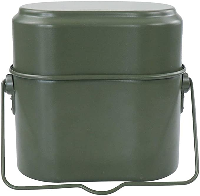 WWII GERMAN MILITARY ARMY Green Camping Cookware Cook With Handle Collectable