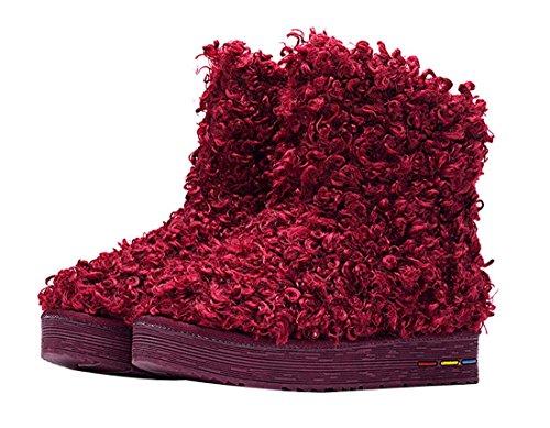 HooH Damen Cotton Warm Schneestiefel 5807 Rot