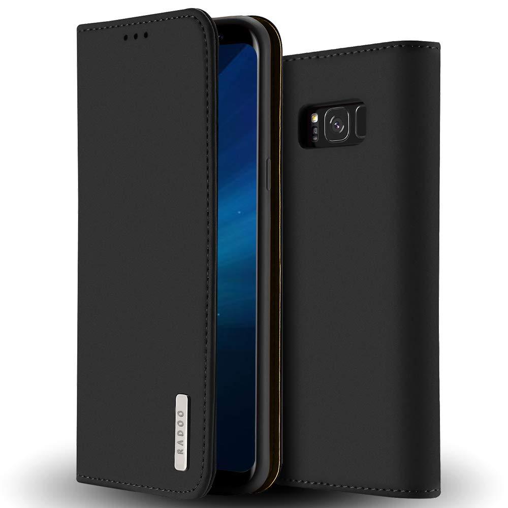 Radoo Coque Samsung Galaxy S8 en Cuir Vé ritable, Housse Premium Fine en Cuir Vé ritable avec Fermeture Magné tique & Fonction Stand & Rangements Cartes pour Samsung Galaxy S8 (Noir) RAD-WISH-PU-0815024