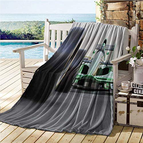 Jecycleus Cars, Super Soft Lightweight Blanket, Sports Theme Indy Cars on an Asphalt Road with Motion Blur Formula Race Print, Summer Quilt Comforter 70x60 Inch Grey Black Green