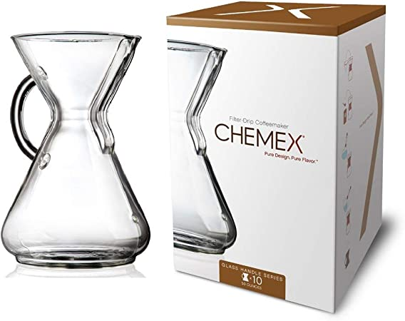 Chemex Glass Handle, Pour-over Coffeemaker, 10-Cup - Exclusive Packaging