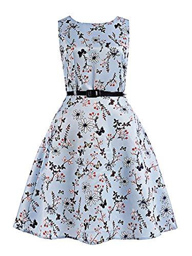 (MOREMOO Girls Sleeveless Retro Vintage Floral Print Swing Party Dress(Pattern-20 6-7)