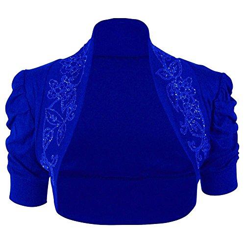 Mujer algodón con cuentas Top fruncido Bolero Puff manga encogiéndose de hombros damas Rebeca cultivo Azul Real