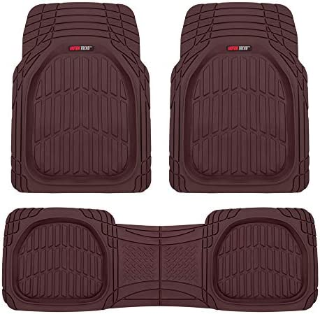 Motor Trend 923-BD Burgundy FlexTough Contour Liners-Deep Dish Heavy Duty Rubber Floor Mats for Car SUV Truck & Van-All Weather Protection, Universal Trim to Fit