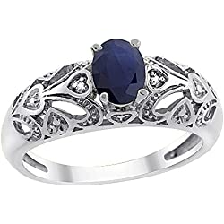 14K White Gold Natural High Quality Blue Sapphire Ring Oval 6x4 mm Diamond Accent, sizes 5 - 10