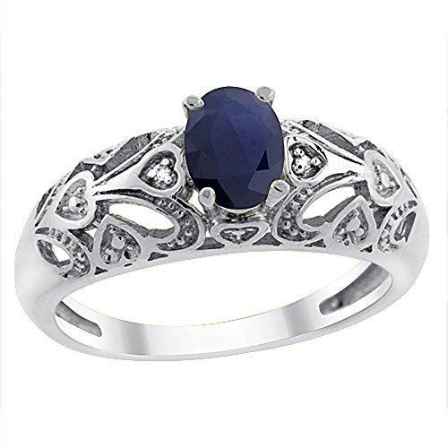 14K White Gold Natural Blue Sapphire Ring Oval 6x4 mm Diamond Accent, size 6 (14k 6x4mm Oval Sapphire Ring)