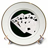 3dRose Alexis Photo-Art - Poker Hands - Poker Hands Flush Clubs - 8 inch Porcelain Plate (cp_270313_1)