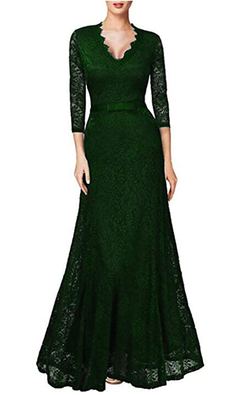 Dark Green Snow Lotus Women's VNeck SevenMinute Sleeve Lace Mermaid Prom Dresses Long Bride Mother Dresses