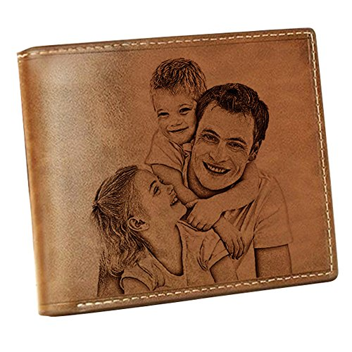 (Personalized photo Wallet Custom Men's Wallet Boyfriend Gift Husband Gift Valentine's Day Anniversary Gift fathers day gift(Brown Double Side))