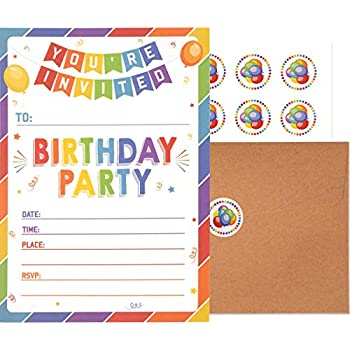 Amazon 30 birthday invitations with envelopes 30 pack kids birthday invitations with envelopes and stickers 25 pack kids rainbow party invites colorful birthday invitations cards for boys and girls filmwisefo